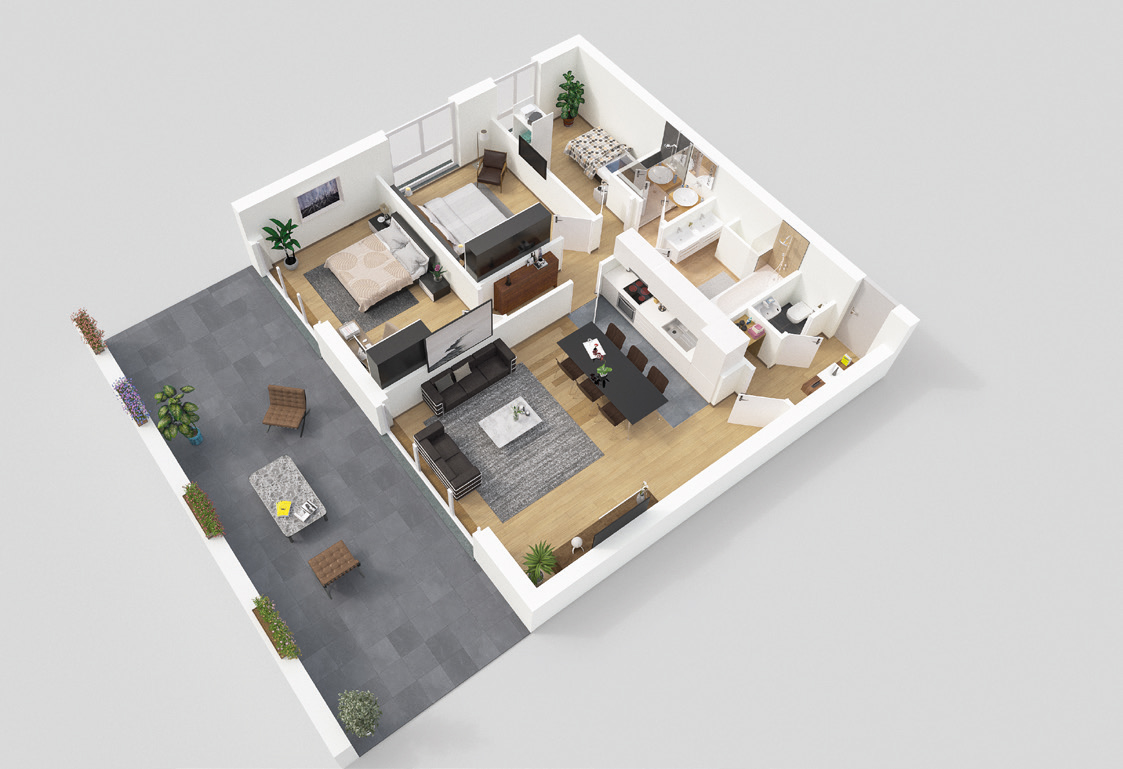 Plan appartement 3 chambre Redwood